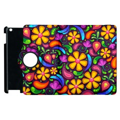 Floral Paisley Background Flower Purple Apple Ipad 2 Flip 360 Case by HermanTelo