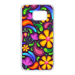 Floral Paisley Background Flower Purple Samsung Galaxy S7 White Seamless Case by HermanTelo