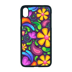 Floral Paisley Background Flower Purple Iphone Xr Seamless Case (black)