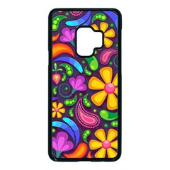 Floral Paisley Background Flower Purple Samsung Galaxy S9 Seamless Case(black)