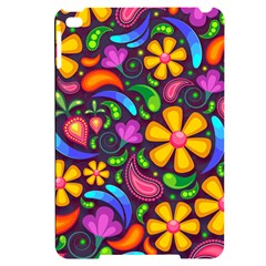 Floral Paisley Background Flower Purple Apple Ipad Mini 4 Black Uv Print Case by HermanTelo