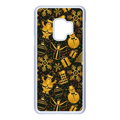 Christmas Background Gold Samsung Galaxy S9 Seamless Case(white)