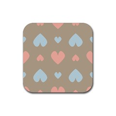Hearts Heart Love Romantic Brown Rubber Coaster (square)  by HermanTelo