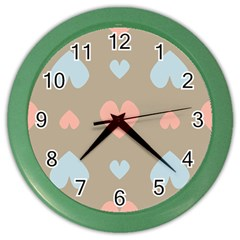 Hearts Heart Love Romantic Brown Color Wall Clock