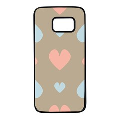 Hearts Heart Love Romantic Brown Samsung Galaxy S7 Black Seamless Case