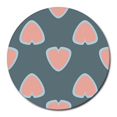 Hearts Love Blue Pink Green Round Mousepads