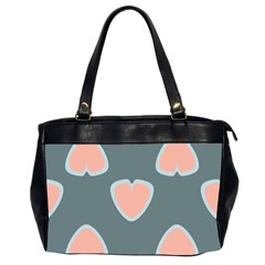 Hearts Love Blue Pink Green Oversize Office Handbag (2 Sides) by HermanTelo