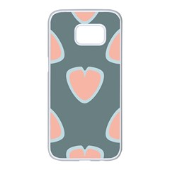 Hearts Love Blue Pink Green Samsung Galaxy S7 Edge White Seamless Case
