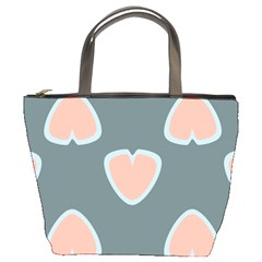 Hearts Love Blue Pink Green Bucket Bag by HermanTelo