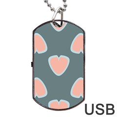 Hearts Love Blue Pink Green Dog Tag Usb Flash (two Sides) by HermanTelo