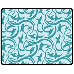 Decorative Blue Floral Pattern Fleece Blanket (medium)  by tarastyle