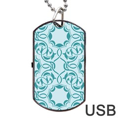 Decorative Blue Floral Pattern Dog Tag Usb Flash (one Side) by tarastyle
