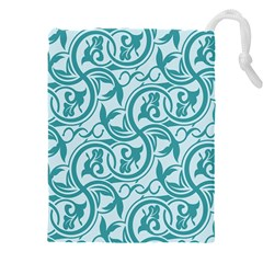 Decorative Blue Floral Pattern Drawstring Pouch (xxxl)