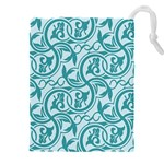 Decorative Blue Floral Pattern Drawstring Pouch (XXXL) Front