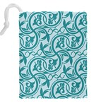 Decorative Blue Floral Pattern Drawstring Pouch (XXXL) Back