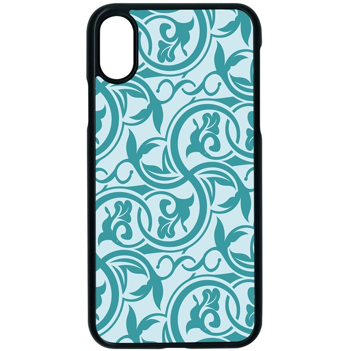 Decorative Blue Floral Pattern iPhone X Seamless Case (Black)