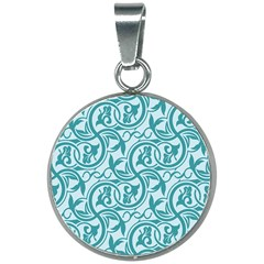 Decorative Blue Floral Pattern 20mm Round Necklace