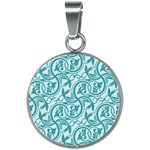 Decorative Blue Floral Pattern 20mm Round Necklace Front