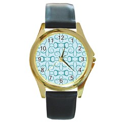 Decorative Blue Floral Pattern Round Gold Metal Watch
