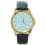 Decorative Blue Floral Pattern Round Gold Metal Watch Front