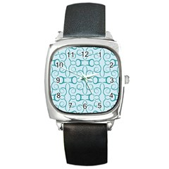 Decorative Blue Floral Pattern Square Metal Watch