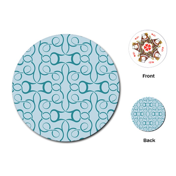 Decorative Blue Floral Pattern Playing Cards (Round)