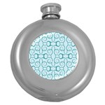 Decorative Blue Floral Pattern Round Hip Flask (5 oz) Front