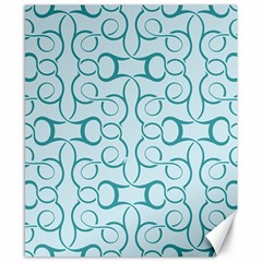 Decorative Blue Floral Pattern Canvas 8  X 10