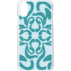 Decorative Blue Floral Pattern Iphone X Seamless Case (white) by tarastyle