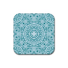 Decorative Blue Floral Pattern Rubber Square Coaster (4 Pack)  by tarastyle