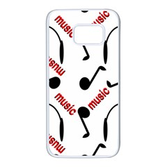 Music Letters Word Headphones Note Samsung Galaxy S7 White Seamless Case