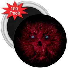 Monster Red Eyes Aggressive Fangs Ghost 3  Magnets (100 Pack) by HermanTelo
