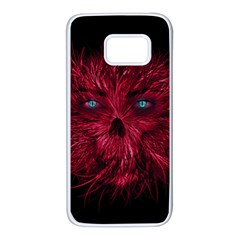 Monster Red Eyes Aggressive Fangs Ghost Samsung Galaxy S7 White Seamless Case by HermanTelo