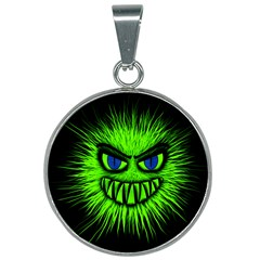 Monster Green Evil Common 25mm Round Necklace