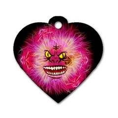 Monster Pink Eyes Aggressive Fangs Dog Tag Heart (two Sides)