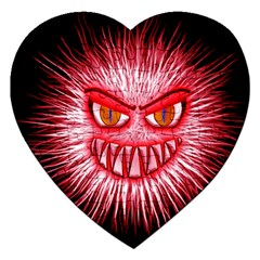 Monster Red Eyes Aggressive Fangs Jigsaw Puzzle (heart)
