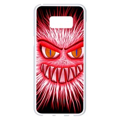Monster Red Eyes Aggressive Fangs Samsung Galaxy S8 Plus White Seamless Case