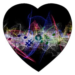 Particles Music Clef Wave Jigsaw Puzzle (heart) by HermanTelo