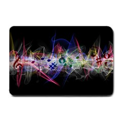 Particles Music Clef Wave Small Doormat  by HermanTelo