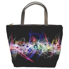 Particles Music Clef Wave Bucket Bag