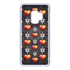 Love Heart Background Valentine Samsung Galaxy S9 Seamless Case(white)