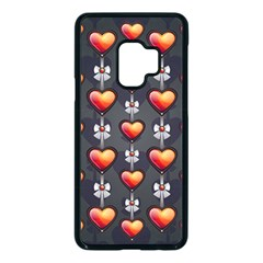 Love Heart Background Valentine Samsung Galaxy S9 Seamless Case(black)