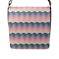 Seamless Pattern Background Block Pink Flap Closure Messenger Bag (l)