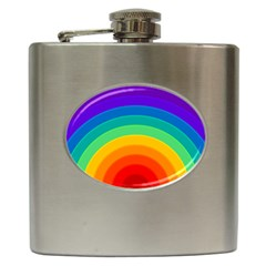 Rainbow Background Colorful Hip Flask (6 Oz) by HermanTelo