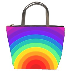 Rainbow Background Colorful Bucket Bag by HermanTelo