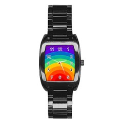 Rainbow Background Colorful Stainless Steel Barrel Watch