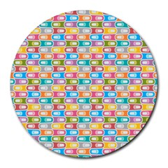 Seamless Pattern Background Abstract Rainbow Round Mousepads