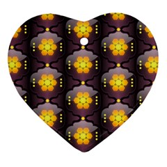 Pattern Background Yellow Bright Ornament (heart) by HermanTelo