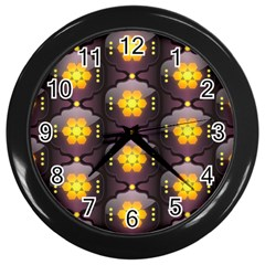 Pattern Background Yellow Bright Wall Clock (black) by HermanTelo