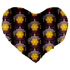 Pattern Background Yellow Bright Large 19  Premium Heart Shape Cushions by HermanTelo